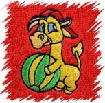 Dětský ručník s výšivkou - ŽIRAFA S MÍČEM