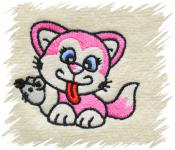 Dětský ručník s výšivkou - KOČIČKA S MYŠÍ