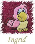 Dětský ručník s výšivkou - RŮŽOVÝ PAPOUŠEK a jméno