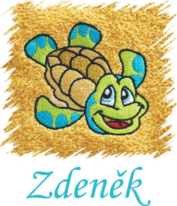 Dětský ručník s výšivkou - ŽELVIČKA  a jméno
