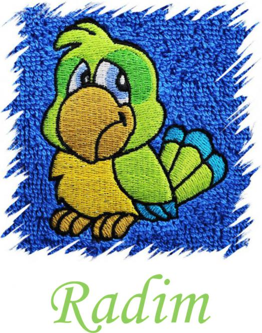 Dětský ručník s výšivkou - PAPOUŠEK a jméno