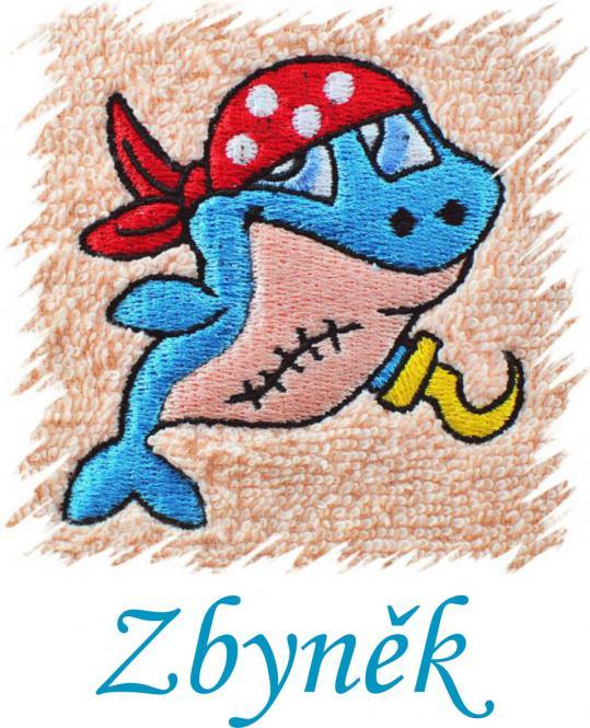 Dětský ručník s výšivkou -  PIRÁT a jméno